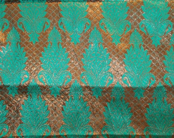 Half yard of Indian silk brocade in green and coppery gold