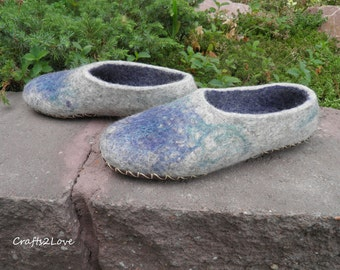 Wool slippers with leather soles, Felted slippers, Pebbles Women slippers Warm bedroom slippers Minimalist Natural Eco Fashion Made to order