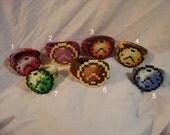 crochet bracelet pixel art 8bit retro analog watch bangle cuff colorful watch perler bead embellishment