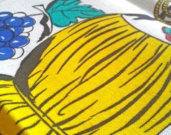 Vintage Scandinavian Tea Towel - Kitchenalia - Kitsch - Coffee Jam Folk Retro Scandi- Bold Primary Colours