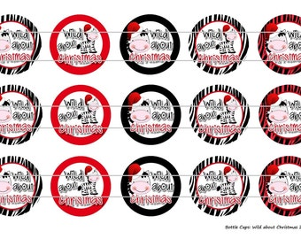"""15 Wild About Christmas Zebra Digital Download for 1"""" Bottle Caps (4x6)"""