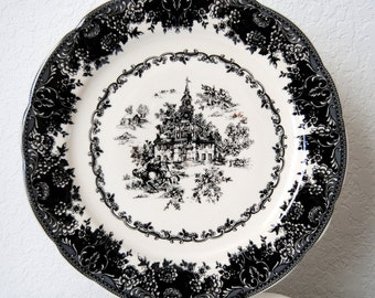 SALE Staffordshire Toile Black Plate, Transferware Plate, Equestrian, Tabletop, Collectibles, Platter, Victorian Faience Server