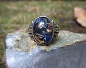RESERVE FOR REBECCA Vintage Art Nouveau Sterling Silver Art Glass Ring Size 10