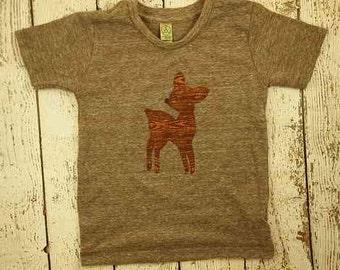 Woodland tshirt baby deer woodgrain retro children's tee boys and girls tshirt infant toddler youth
