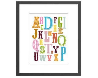 Country alphabet letters art print for newborn nursery girls toddler or kids room. Perfect baby shower gift for new moms!