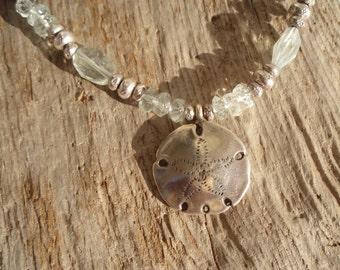Aquamarine & fine silver necklace