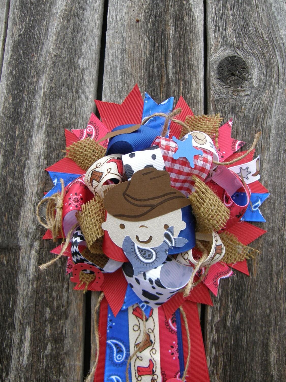 full cowboy corsage cowboy baby shower mum western baby by bonbow