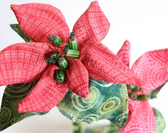 Poinsettias Everlasting Fabric Sculpture - Holiday Decor, Eco-Friendly Holidays, Unique Fiber Art, Red Poinsettia, Christmas Decor