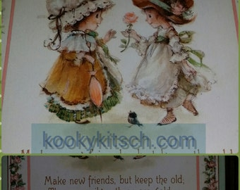 1970s make new friends, but keep the old Those are silver, these are gold plaque Big Eyed Girls kitschy cute hallmark