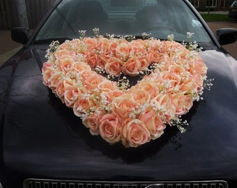 Wedding Car Decoration Heart of Silk Roses.