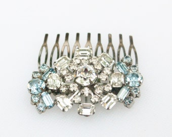 Vintage Bridal Light Blue and Clear Rhinestone Hair Comb