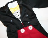 Mickey Mouse Inspired Costume -3 Piece Tuxedo Jacket Fully Lined with Tails, Tuxedo Onesie or TShirt and Tuxedo Pants - Birthday Christmas
