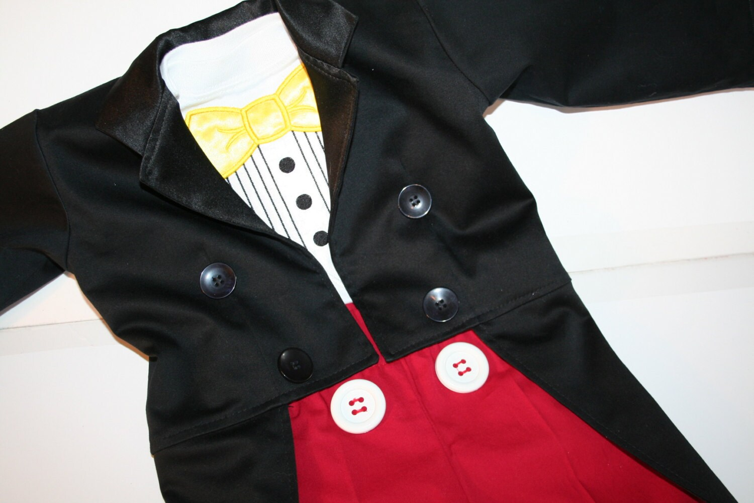 Mickey Mouse Inspired Costume 3 Piece Tuxedo Jacket Fully