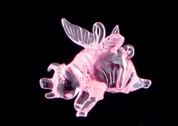 Flying Pig Ornament, Pink Glass Lampwork Sculpture, When Pigs Fly