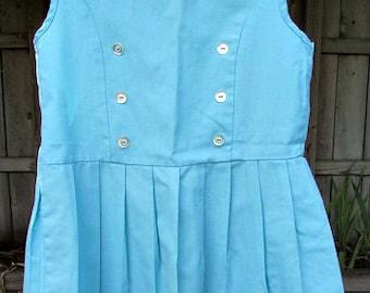 vintage 50s little girls blue drop waist pleated sailor dress b27 rockabilly