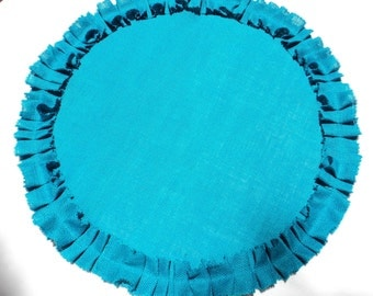 Turquoise Burlap Table Topper Burlap Overlays Choose your Color Burlap Centerpiece for Home or Wedding