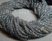 """Full 13"""" strand LABRADORITE faceted gem stone rondelle beads 3.5mm blue green"""