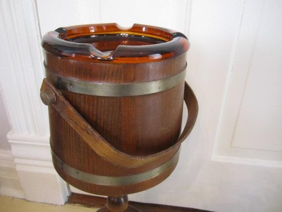 Firkin Style Bucket Tripod Wood Smoking Stand Amber Glass