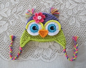 Purple and Apple Green Crocheted Owl Hat - Photo Prop - Available in Any Size or Color Combination