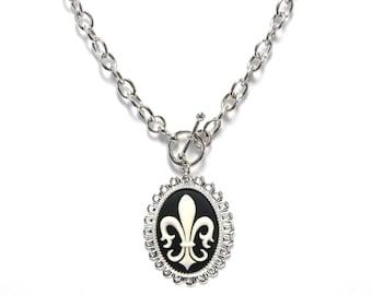 Fleur de Lis Necklace - Cameo Toggle Fleur de Lys Jewelry - Black and White Accessory - French - Paris - Silver Chain with Front Closure