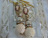 Vintage Antique Assemblage Earrings LADY ROSE carved cameo and bone earrings