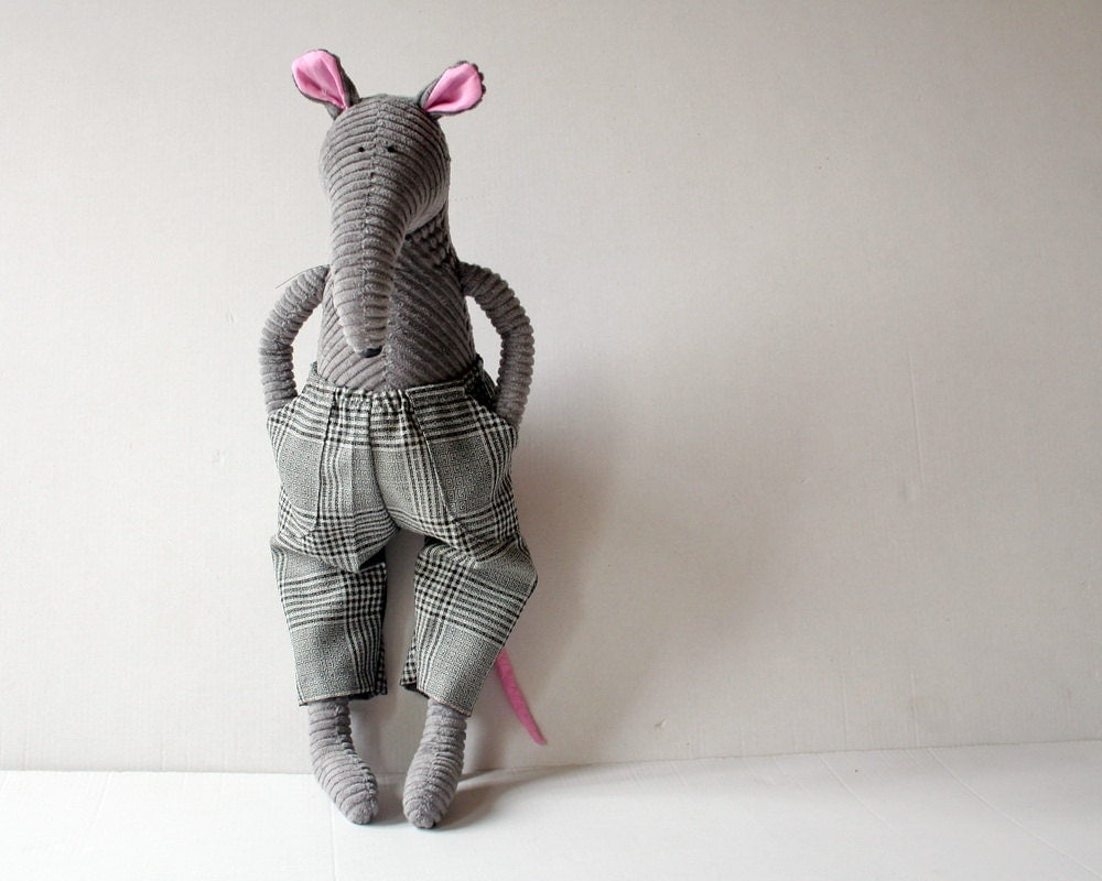 Rat dude stuffed animal, Grey Corduroy Rat