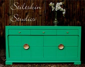 Reserved Cree Mid Century Modern Chinoiserie Lacquered  Asian Jade Green Dresser