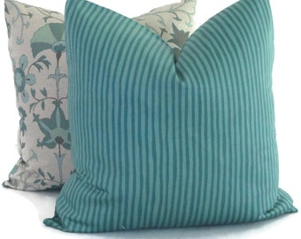 Quadrille Island Stripe in Turquoise Decorative Pillow Cover, 18x18, 20x20, 22x22, Eurosham, or Lumbar Made to order
