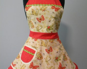 Womens Apron-Garden Delight Double Skirted Apron