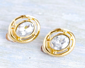 Vintage Clip on Earrings Earrings - Oval Rhinestone