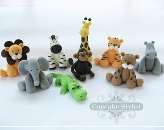 Fondant safari animal Cake Topper set, by Cupcake Stylist on Etsy