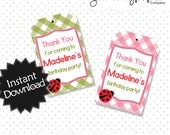 Easy to Edit Lady Bug Favor Tags - Instantly Download PDF Template, have it printed within minutes, instructions included .. lbp01