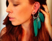 Handmade Silver Ear Cuff, Teal Dream Catcher Ear Cuff, Feather Ear Cuff, Fake Earring, Festival,Hippie, Tragus Earring, Mushroom, Turquoise