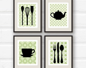 Modern Kitchen Wall Decor - Utensils, Teapot, Teacup Silhouette - Set of 4 prints