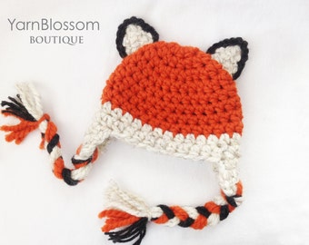 CROCHET PATTERN Baby Fox Earflap Hat (5 sizes included from newborn to 10 years old) Instant Download