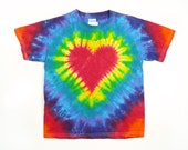 Tie Dye T Shirt, Men's Standard and Plus Sizes, Red Heart, Rainbow Colors, Eco-friendly Dyeing