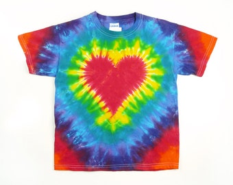 Tie Dye T Shirt, Adult, Red Heart, Rainbow Colors, Eco-friendly Dyeing