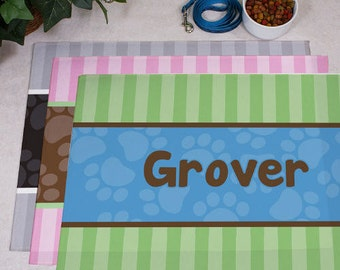 Personalized Modern Stripes Dog Food Mat -gfy83166047S