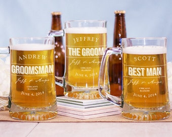 Engraved Groomsmen Glass Mug -gfy276081