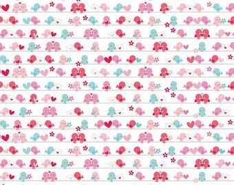 04821 - Riley Blake Lovey Dovey Cotton Flannel - F3653 in White - 1 yard