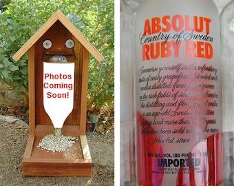 Recycled Bottle BIRD FEEDER, Vodka Bottle, Recycled Vodka Bottle. Upcycled, Hand Made (bird seed not included).