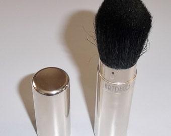 1980s Cosmetic Brush, Quality Metal Case Black Natural Bristles, Telescopic Brush, Artdeco Germany