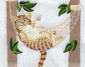 Cat Kitty in Hamock Embroidered Flour Sack Hand/Dish Towel