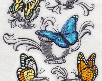 Butterflies at Tea Embroidered Flour Sack Hand/Dish Towel