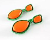 Bright Vintage Mod Earrings 60s Lime Green Orange dangle, 1960s jewelry summer