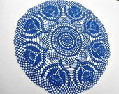 Blue crochet doily , lace doily , round tablecloth , 15 ""