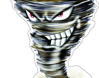 Tornado face mascot   high resolution Vinyl decal sticker