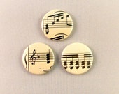 Set of 3 Three Buttons Badges Sheet Music Lover Teacher Musical Notes Black and White I Love Singing D Pin Back Bag Accessory Hipster Goth