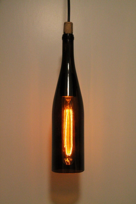 Red amber recycled wine bottle hanging pendant light - Wine bottle pendant light ...