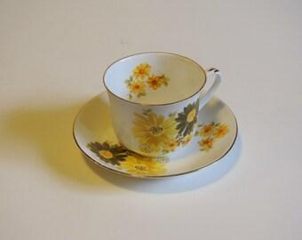 Vintage Yellow and Green Floral Tea Cup - Royal Bengal Bone China